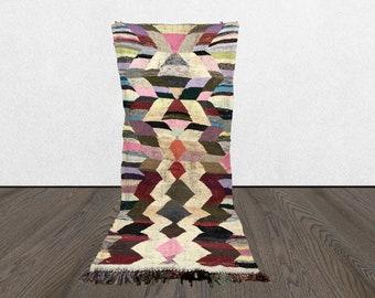 6x9 Moroccan rag Boucherouite rug, vintage Berber kilim fabric, Morrocan large floor rugs.