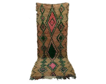 Moroccan Berber Vintage narrow runner rug 3x9, boujad tribal kilim beni rugs Boho Decor, bathroom boucherouite woven Bohemian stair runners