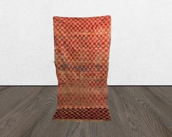 vintage Berber checkered rug 3x7, Morrocan Tribal Bohemian woven checkerboard rug, Moroccan Boho wool checker board rugs