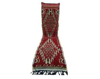 Moroccan Berber Azilal Vintage rug runner, 3x13, morrocan boujad kilim rugs Boho Decor, bathroom boucherouite woven Bohemian narrow runners!