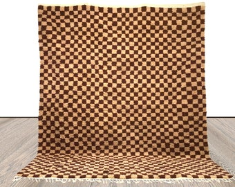 Moroccan Berber Brown and Cream Checkered rug!