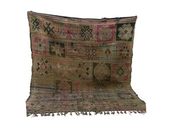 Moroccan Vintage rug 5x6, morrocan Berber Azilal rug, Tribal Bohemian Moroccan Colorful Wool rug,  Vintage woven rugs Vintage Carpet
