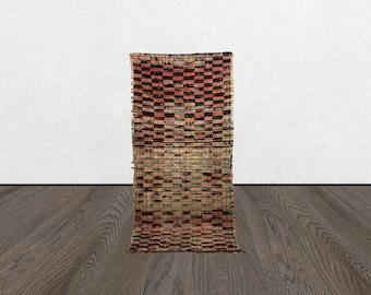 3 x 7 Berber Small checker vintage runner rug, Morrocan Tribal Bohemian woven checkered rugs 3x7, Moroccan Boho accent wool checkerboard rug