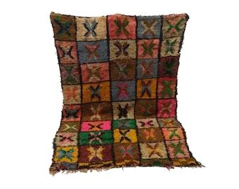 Moroccan Vintage rug 4x7, morrocan Berber Azilal rug, Tribal Bohemian Moroccan Colorful Wool rug,  Vintage woven rugs Vintage Carpet