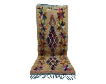 Moroccan Berber Vintage narrow runner rug 3x8, boujad tribal kilim beni rugs Boho Decor, bathroom boucherouite woven Bohemian stair runners