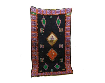 Moroccan Vintage rug 4x8, morrocan Berber Azilal rug, Tribal Bohemian Moroccan Colorful Wool rug,  Vintage woven rugs Vintage Carpet