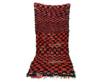 Moroccan Berber Vintage narrow runner rug 3x7, boujad tribal kilim beni rugs Boho Decor, bathroom boucherouite woven Bohemian stair runners