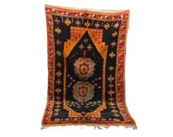 Moroccan rug 5x9, Berber large Boho rug, azilal Moroccan Rug, large vintage rug, Boucherouite rug, vintage moroccan rugs, vintage area rugs