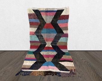 4x7 Moroccan kilim fabric, Berber rag Boucherouite rugs, vintage Morrocan flat woven Boho rug.