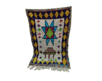 Boucherouite woven Vintage rug 3x4, Moroccan berber Bohemian azilal rugs!