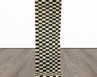 Moroccan Berber Wool Checkered runner rug!