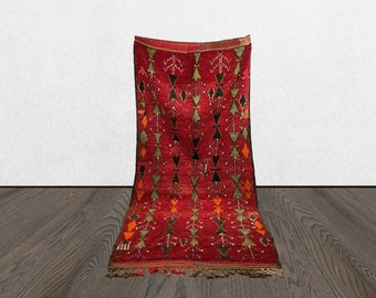 5x10 Moroccan vintage red rug, Morrocan Berber large rug, vintage Bohemian azilal woven rug