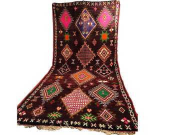 Extra Large Vintage Moroccan Black rug, 7x15 ft Morrocan Boho Berber black rug, Tribal Bohemian wool black rug.