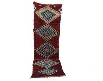 Moroccan Berber Vintage narrow runner rug 4x9, boujad tribal kilim beni rugs Boho Decor, bathroom boucherouite woven Bohemian stair runners
