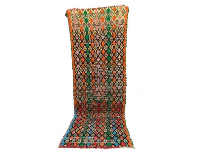 Moroccan Berber Vintage narrow runner rug 3x8, morrocan boujad tribal rugs Boho Decor, bathroom boucherouite woven Bohemian stair runners.