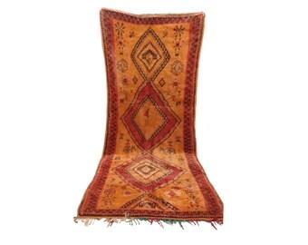 Moroccan Berber Azilal Vintage rug runner, 5x11, morrocan boujad tribal kilim rugs Boho Decor, bathroom boucherouite woven Bohemian runners!