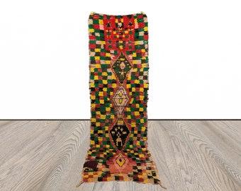 Checkered runner rug, Moroccan Colorful runner rug, 3x9 runner rugs, Berber checker runners, morrocan runner rug, kitchen runner