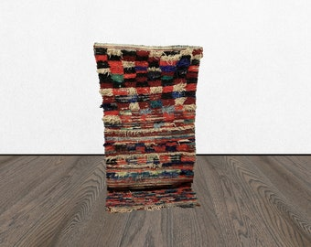 Small Vintage area rug 2x5, Moroccan woven old kitchen mat, Bohemian Morrocan Berber Unique tapis, Morocco Boho Oriental Kilim