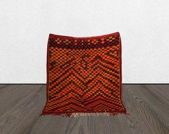 5 x 6 Berber checkered vintage area rug, Morrocan Tribal Bohemian checker bord woven rugs 5x6, Moroccan checkerboard Boho accent wool rug