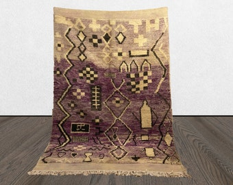 Purple vintage Moroccan Berber rug 5x8, Morrocan Boho abstract rug, Tribal Bohemian woven wool rug.