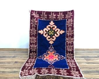 Blue Vintage Moroccan Berber area rug 3x6 ft!