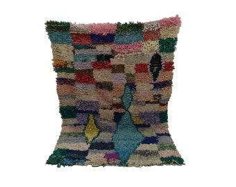 Boucherouite woven Vintage rug 4x6, Moroccan berber Bohemian azilal rugs!