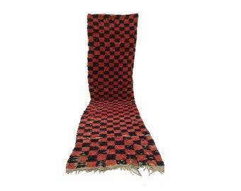Moroccan Berber checkered runner rug 3x10, boujad tribal kilim beni rugs Boho Decor, bathroom boucherouite woven Bohemian stair runners