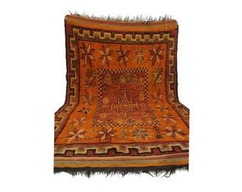 Moroccan Vintage rug, 5x8 morrocan Berber Azilal rug, Tribal Bohemian Moroccan Colorful Wool rug,  Vintage woven rugs Vintage Carpet