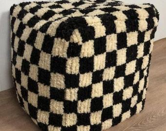 Moroccan Berber Black and white large checkered pouf ottoman!