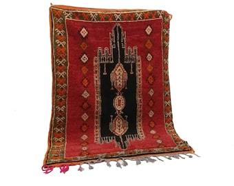 Moroccan Vintage rug 4x6, morrocan Berber Azilal rug, Tribal Bohemian Moroccan Colorful Wool rug,  Vintage woven rugs Vintage Carpet