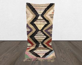 vintage Kilim rug, Boucherouite rug, Moroccan rug 4x8, Berber Kilim rug, Morrocan Kilim rug,
