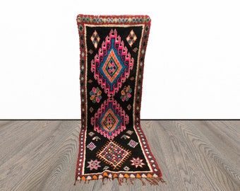 Black and pink Vintage Moroccan runner rug 3x9!