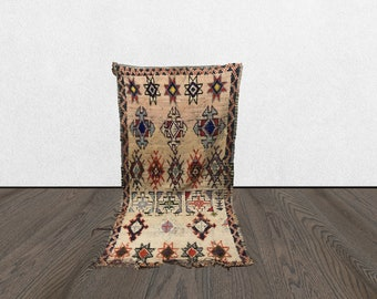 Berber vintage Boho rug 3x7, Morrocan Bohemian woven wool rugs, Moroccan Unique old rugs, Morocco Tribal Oriental rug, first home gift