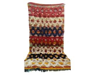 Moroccan Vintage rug, 3x7 morrocan Berber Azilal rug, Tribal Bohemian Moroccan Colorful Wool rug,  Vintage woven rugs Vintage Carpet