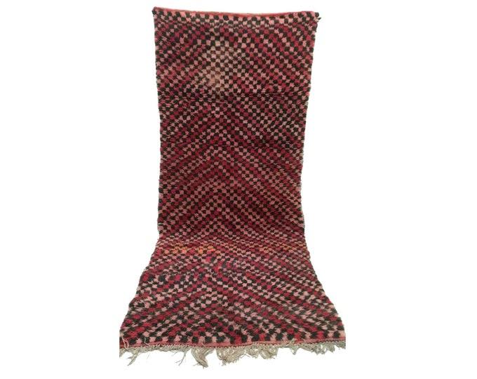 Moroccan Berber Vintage narrow runner rug 4x9, morrocan boujad tribal rugs Boho Decor, bathroom boucherouite woven Bohemian stair runners.