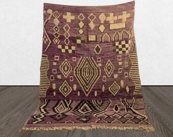 vintage Moroccan purple rug 6x8, Morrocan Berber rug, Tribal Bohemian abstract rug.