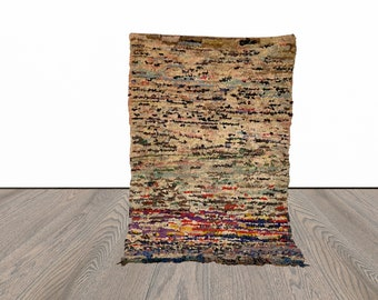 Moroccan vintage Boucherouite rug 4x6 ft!