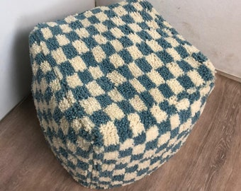 Moroccan Berber light Blue and white large checkered pouf ottoman!