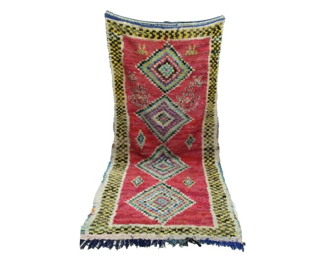 Boucherouite woven Vintage rug 4x9, Moroccan berber Bohemian azilal rugs!