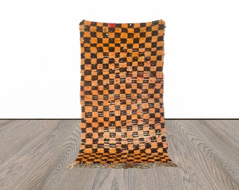 checkered Moroccan vintage rug 4 x 6 ft!