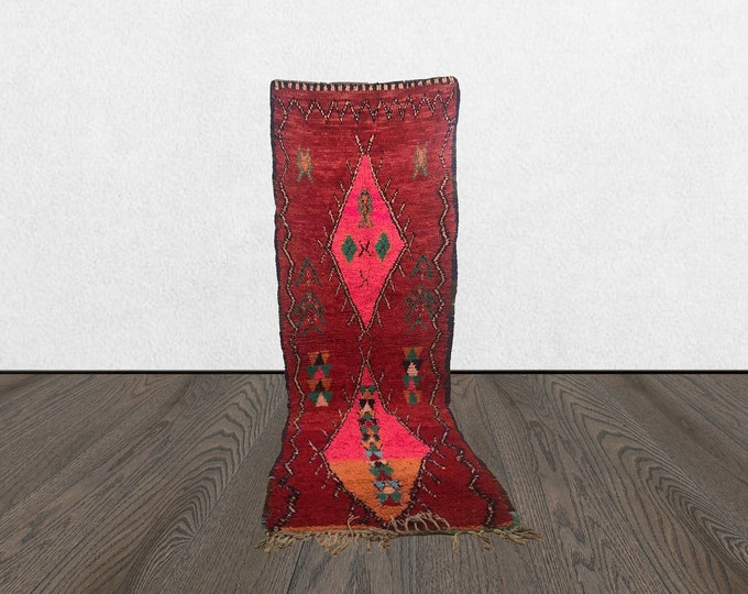 moroccan red runner, 4x11 vintage red runner, large runner rug, moroccan runner rug, vintage runner rug.