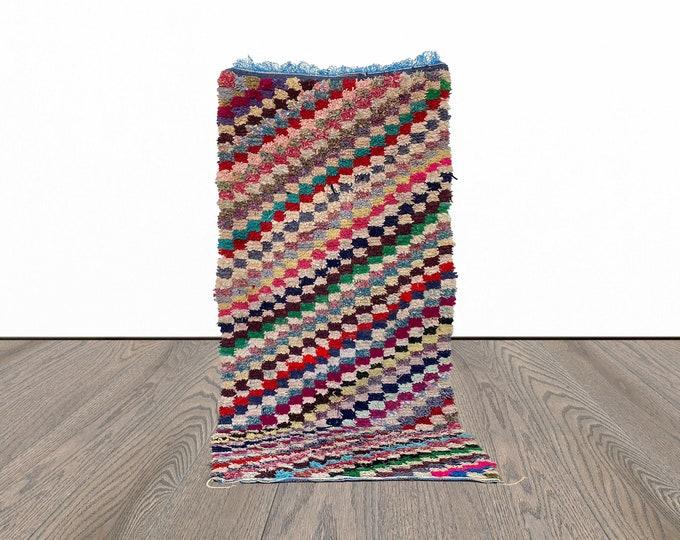 3 x 7 ft Moroccan Boucherouite vintage rug!