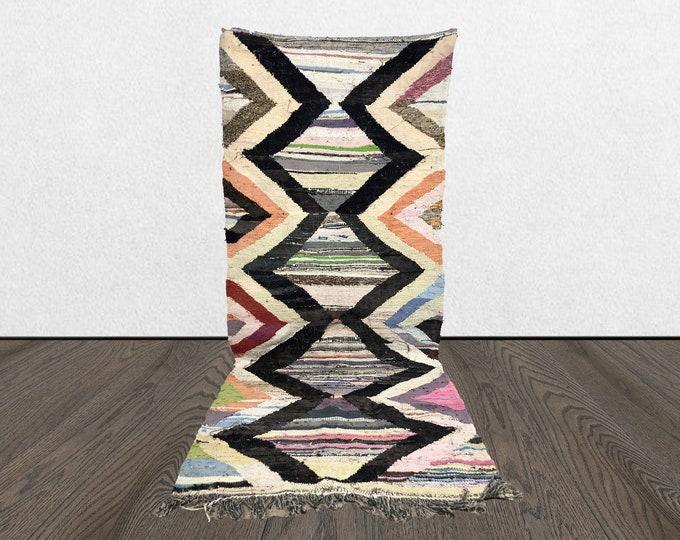 4x9 Boucherouite kilim striped area rug, 4 x 9 Moroccan vintage living room rug, Morrocan Berber Bohemian Tribal woven azilal rug