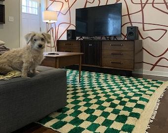 Large Moroccan Green Checkered area rug, Berber Checker rug, nursery rug