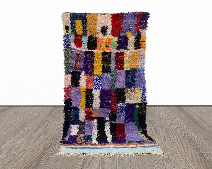 4x8 ft colorful Boucherouite Moroccan  rug!