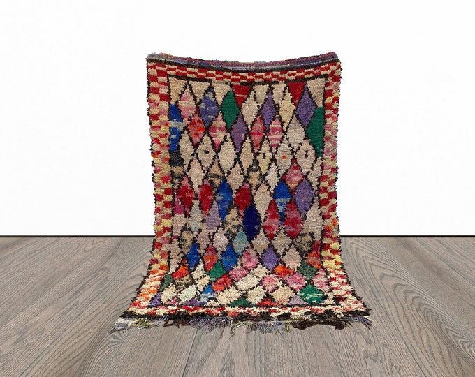 Moroccan Boucherouite colorful rug 4x6 ft!