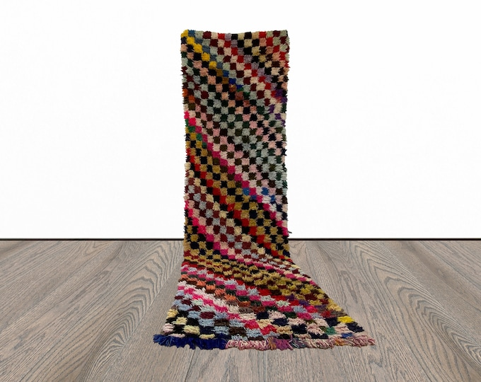Colorful Moroccan long runner rug 3x11 ft!