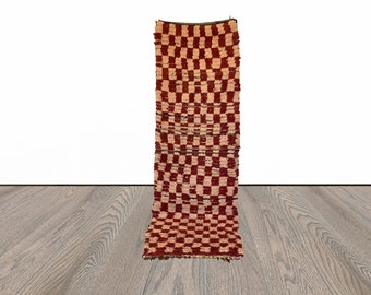 Moroccan checkered runner rug 2x10 ft!