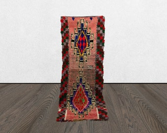3x8 Bohemian Moroccan runner, Boho vintage runner rug, Morrocan azilal boho long rug .