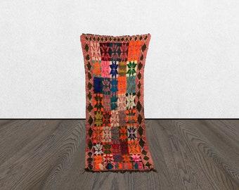3x8 colorful area rug, moroccan vintage rug, woven berber rug, moroccan boho rug.